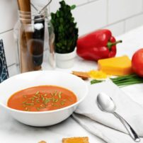 Creamy Tomato and Roasted Pepper Soup with Cheddar Cracker Melts
