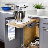 Base cabinet mixer lift with accessory pullout basket by Hardware Resources