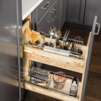 Base cabinet pullout kitchen tool organizer by Hardware Resources