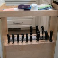 Pullout vertical knife block (Photo courtesy A Kitchen That Works LLC)