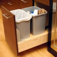 Tandem pullout waste and recycling (Photo courtesy Dura Supreme Cabinetry)
