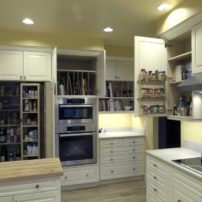 Wall cabinet tray dividers, door-mounted spice rack and tall chef's pantry (Photo courtesy A Kitchen That Works LLC)