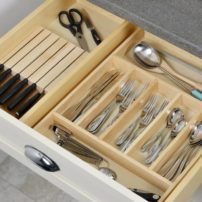 Kitchen drawer utensil and horizontal knife block organizer (Photo courtesy Dura Supreme Cabinetry)