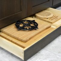Toe-kick storage drawer (Photo courtesy Dura Supreme Cabinetry)
