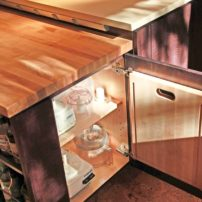 Base-cabinet cutting-board rack (Photo courtesy A Kitchen That Works LLC)