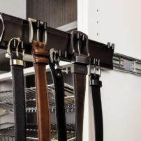 Side-mounted pull-out belt rack by Hardware Resources