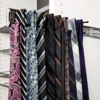 Side-mounted pull-out tie rack by Hardware Resources