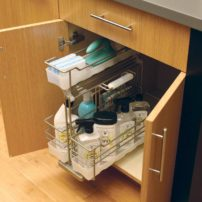 Pull-out portable base cabinet cleaning supply organizer (Photo courtesy Dura Supreme Cabinetry)