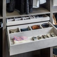 Pull-out closet accessory drawers