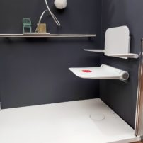 Fold-up shower seat with arms by Ponte Giulio USA