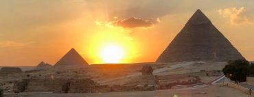 The pyramids of Giza at Sunset