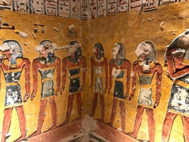 Beautiful artwork in the tomb chamber of the Valley of the Kings
