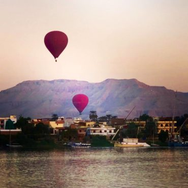 Hot air balloons over the Nile River