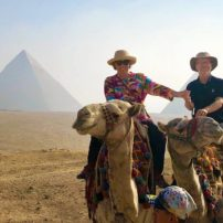 Enjoying the pyramids on a camel from the southside