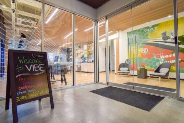 Vibe Coworks is a modern shared workspace within the Crabtree building.
