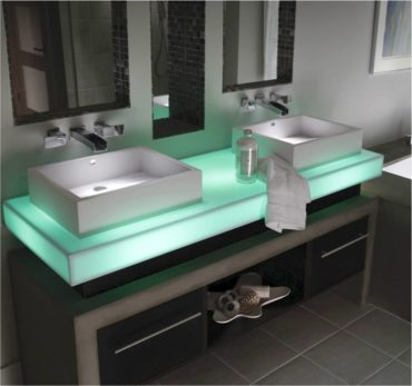 Backlit Corian countertop in mint ice