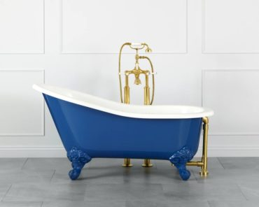Shropshire slipper tub by Victoria and Albert in aqua blue