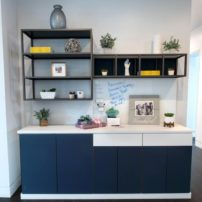 Open shelf products by Element Designs offer a variety of finishes.