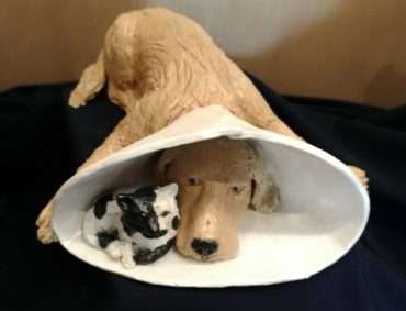 """Cone Cat and Dog"" by Jane Schupay of Rolling Clay Studio"