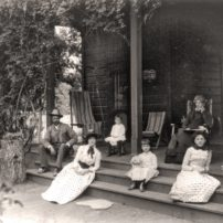The McClung Ranch family relaxing on the front porch of their home, c. 1880s, in Kern County, California (Carleton E. Watkins/Library of Congress)