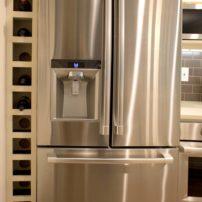 Wine shelf adjoining the refrigerator