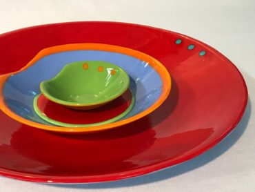 Fused dishes by Mesolini Glass Studio