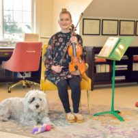 Jennifer Yarbrough in the music room with Daisy