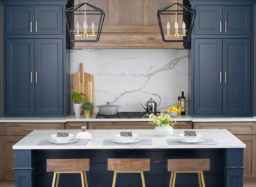 Deep blue inset face-frame cabintry (Photo courtesy Dura Supreme Cabinetry)
