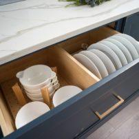 Customized and ergonomic dish storage (Photo courtesy Dura Supreme Cabinetry)