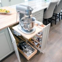 Customized storage — mixer lift and pull-out pantry