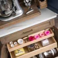 Customized storage roll-outs (Photo courtesy Dura Supreme Cabinetry)