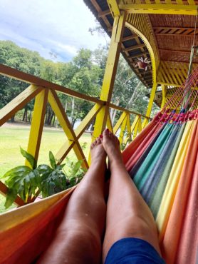 Relaxing in the hammock at Manati Lodge