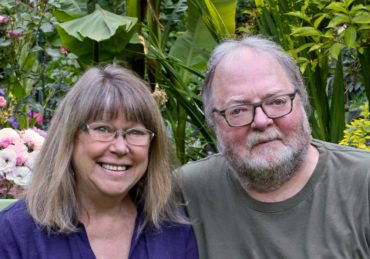 Jeanne and Robin Cronce in their garden