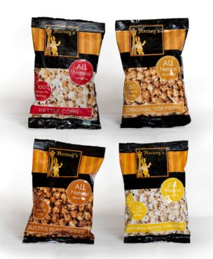 Harvey's all-natural popcorn comes in many flavors, including butter rum toffee, white cheddar, kettle corn and original toffee.