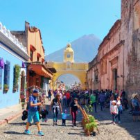 Cobbled streets and volcano view in Antigua