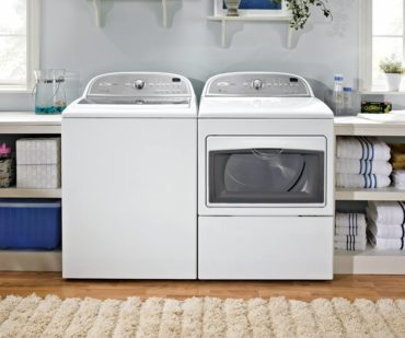 """Whirlpool models 5700xW/5700AC top-loading laundry machines are a high-efficiency team. Top loaders are favored by crafters for their ability to """"soak"""" cloth for dying, felting and other craft activities."""