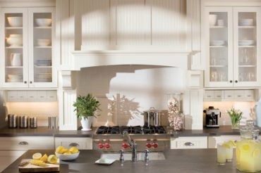 Gas rangetop with mantle-style ventilation (Photo courtesy Dura Supreme Cabinetry)