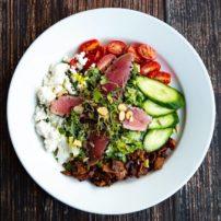 Chop Chop Salad with added seared ahi tuna