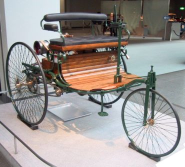A replica of the 1886 Benz Motorwagen at the Toyota Automobile Museum in Japan. (This Wikimedia Commons image is from the user Chris 73, under the creative commons cc-by-sa 3.0 license.)