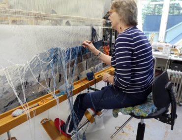 Cecilia Blomberg at her loom
