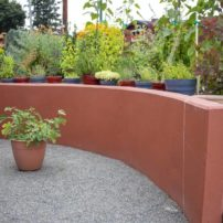 Color-coordinated garden wall