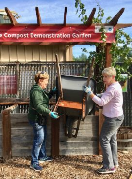 The compost station: Debbie Weisdepp and Ann Maughan