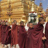 Monks at Shwedagon Temple, Bagan