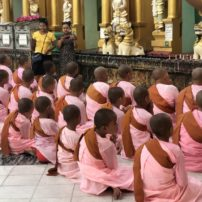 Girl monks at Shwedagon Temple, Yangon