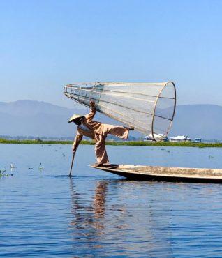 Traditional fisherman on Inle Lake