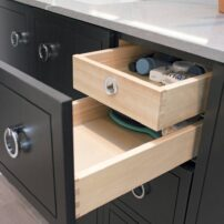 Layered section in vanity drawer