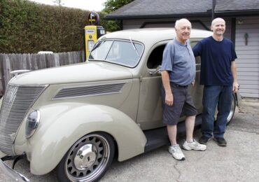 Ron and Adam Perkerewicz with a '37 Ford sedan delivery