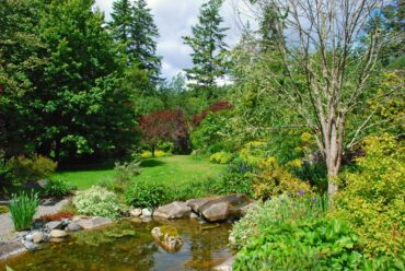 Stream in front of the lawn hides the geothermal heating system.