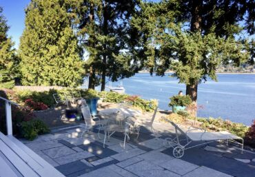 The Autrands' garden offers spectacular views of Hale Passage.