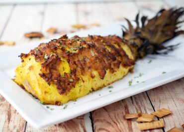 Smoked Hasselback Pineapple with Spiced Turkey Chorizo and Onion
